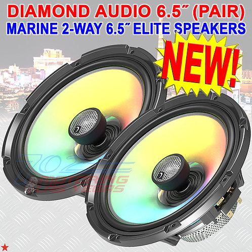 "DIAMOND AUDIO HXM65F4 MARINE SPEAKERS MOTORSPORT 2-WAY 6.5"" FLUSH MOUNT 4Ω PAIR"