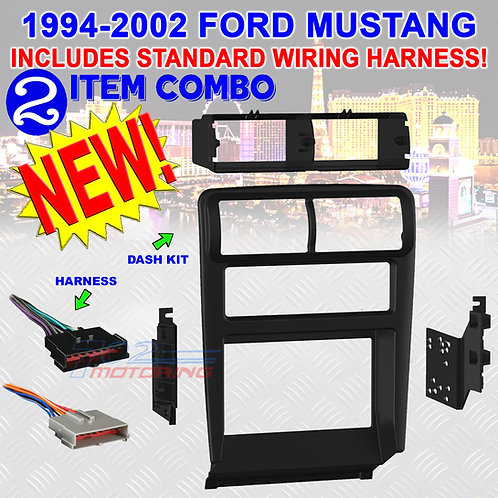 METRA 95-5703B FORD MUSTANG 94-2002 ISO 2DIN STEREO RADIO DASH KIT STD. HARNESS