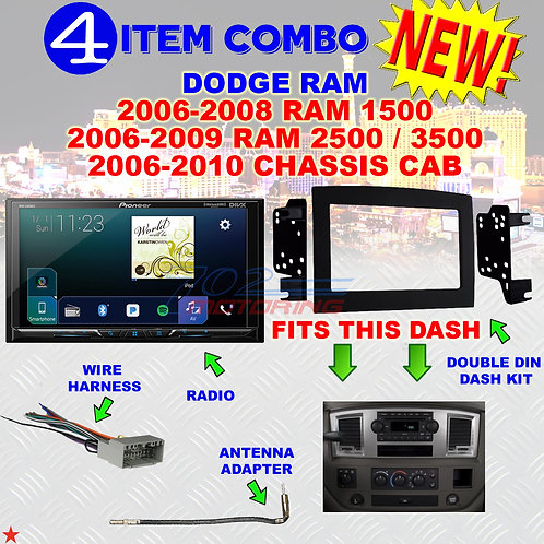 06 07 08 09 10 DODGE RAM CAR STEREO RADIO DOUBLE DIN INSTALL DASH PANEL KIT DR45