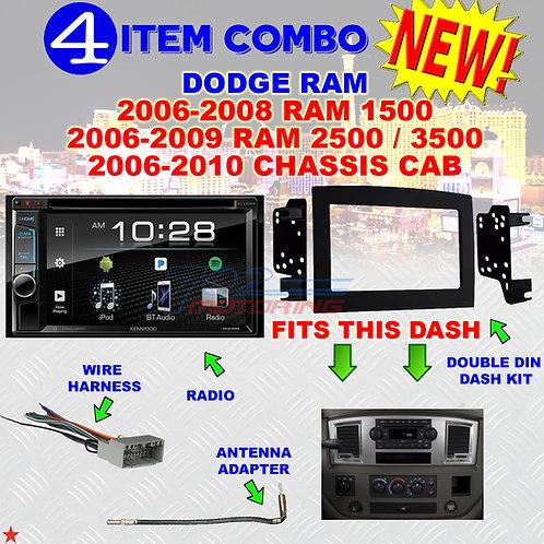 06 07 08 09 10 DODGE RAM CAR STEREO RADIO DOUBLE DIN INSTALL DASH PANEL KIT DR06
