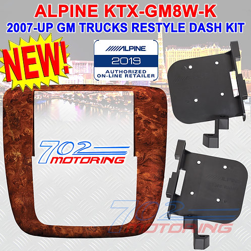"ALPINE KTX-GM8W-K RESTYLE DASH KIT FOR 8"" RECEIVER SELECT 07-UP GM (WOOD GRAIN)"