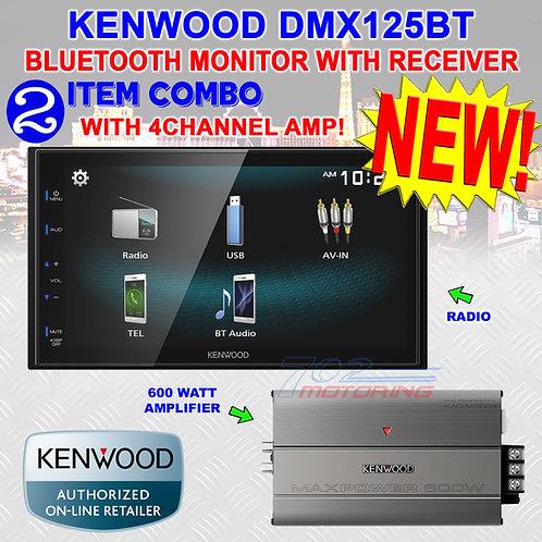 "KENWOOD DMX125BT 2DIN 6.8"" TOUCHSCREEN STEREO DIGITAL MEDIEA RECEIVER + 4CH. AMP"