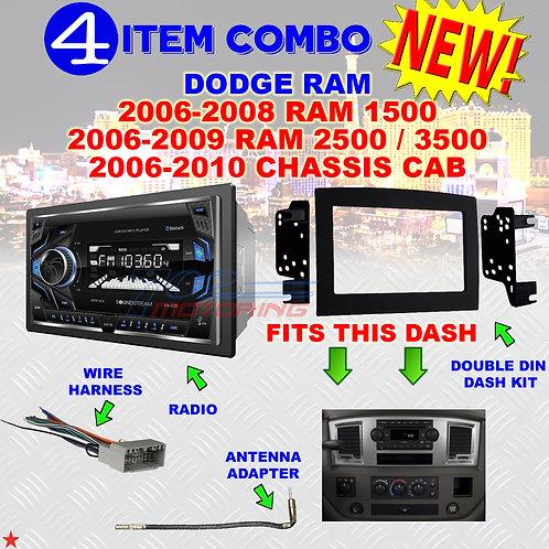 06 07 08 09 10 DODGE RAM CAR STEREO RADIO DOUBLE DIN INSTALL DASH PANEL KIT DR82