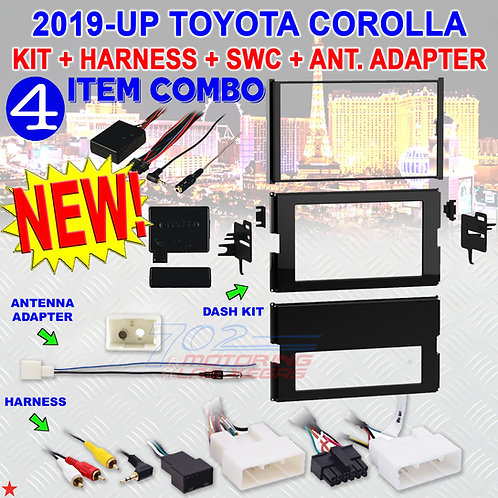 FOR SELECT 2019-UP TOYOTA COROLLA - INSTALL KIT + HARNESS + ANT. ADAPT. + AXSWC