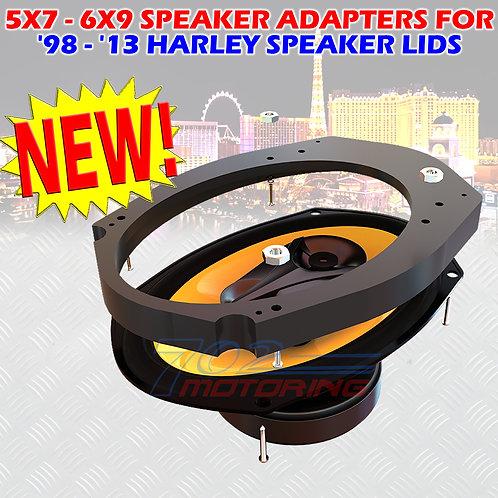 5x7 to 6x9 SPEAKER ADAPTERS FOR 1998 THROUGH 2013 HARLEY DAVIDSON SPEAKER LIDS 2