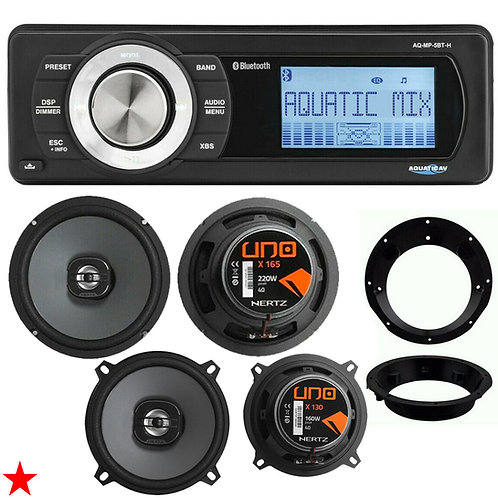 "AQUATIC AV HARLEY DAVIDSON REPLACEMENT RADIO + HERTZ X165 6.5"" + X130 5.25"" NEW!"
