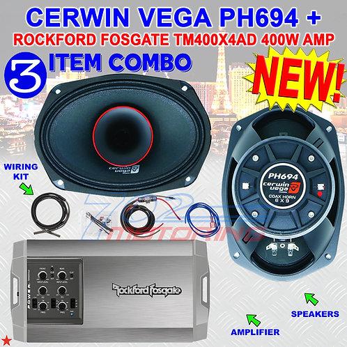 """CERWIN VEGA PH694 6""""X9"""" FULL-RANGE CO-AX HORN SPEAKERS + R.F. TM400X4AD AMP NEW!"""