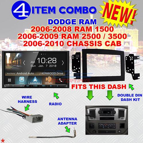 06 07 08 09 10 DODGE RAM CAR STEREO RADIO DOUBLE DIN INSTALL DASH PANEL KIT DR11