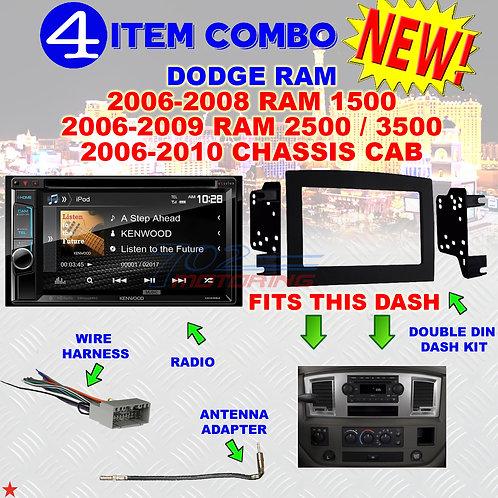 06 07 08 09 10 DODGE RAM CAR STEREO RADIO DOUBLE DIN INSTALL DASH PANEL KIT DR05