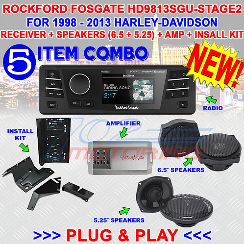HD9813SGU-STAGE2 ROCKFORD FOSGATE PLUG & PLAY RADIO AMP KIT FOR 98 - 2013 HARLEY