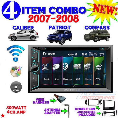 07 08 COMPASS CALIBER PATRIOT TOUCHSCREEN DVD BLUETOOTH DOUBLE DIN CAR STEREO