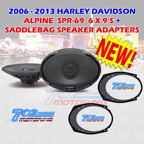 6X9 ALPINE SPR-69 HARLEY DAVIDSON + 5X7-6X9 INCH SPEAKER ADAPTERS STREET