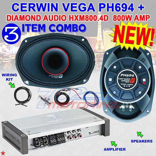 """CERWIN VEGA PH694 6""""X9"""" FULL-RANGE CO-AX HORN SPEAKERS + DIAMOND AUDIO HXM800.4D"""