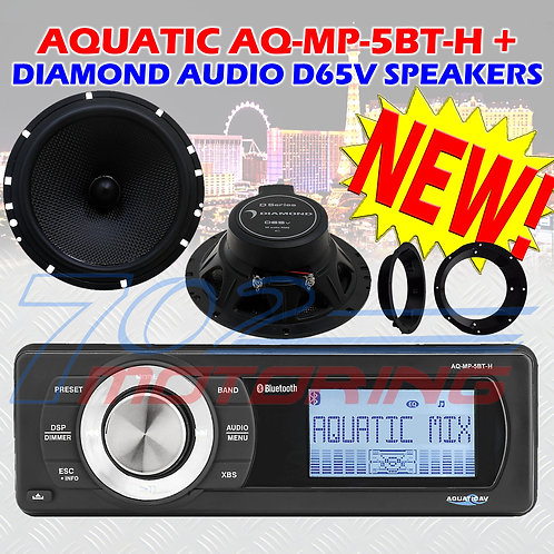 "AQUATIC AV AQ-MP-5BT-H HARLEY DAVIDSON BT RADIO + DIAMOND D SERIES 6.5"" SPEAKERS"