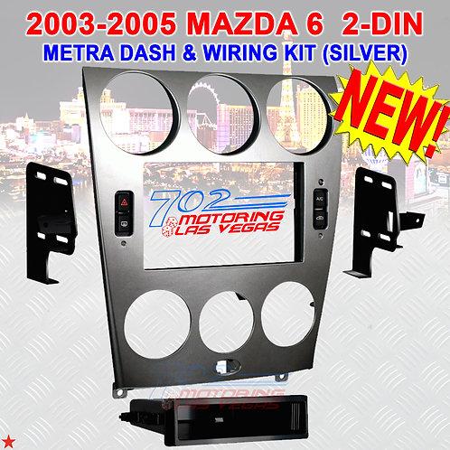 2003-2005 MAZDA 6, METRA 99-7523S SILVER DOUBLE DIN CAR STEREO DASH & WIRING KIT