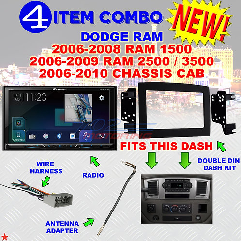 06 07 08 09 10 DODGE RAM CAR STEREO RADIO DOUBLE DIN INSTALL DASH PANEL KIT DR53