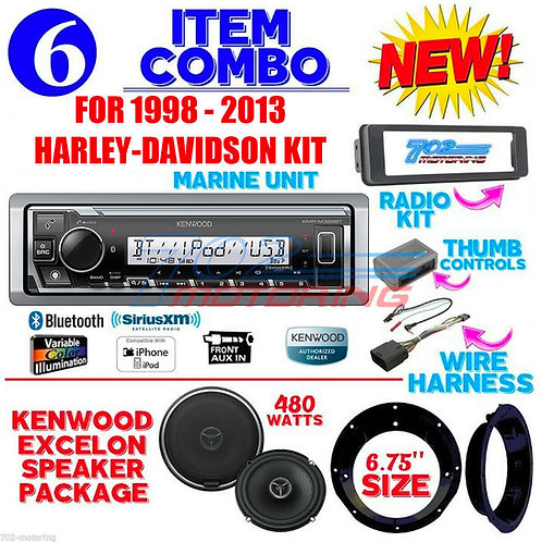 FOR 98-2013 HARLEY KENWOOD MARINE KMR-M328BT RADIO + SPEAKER KIT TOURING INSTALL