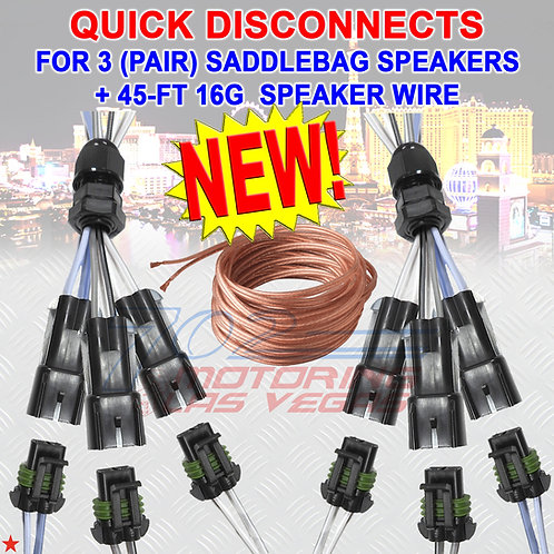 QUICK DISCONNECT FOR 3 SPEAKERS IN A HARLEY-DAVIDSON SADDLEBAG + 45' WIRE