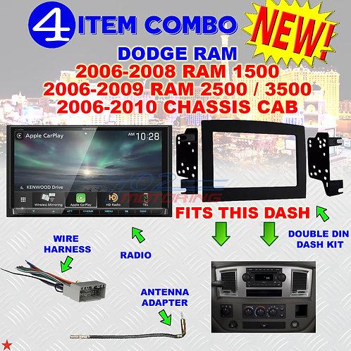 06 07 08 09 10 DODGE RAM CAR STEREO RADIO DOUBLE DIN INSTALL DASH PANEL KIT DR16