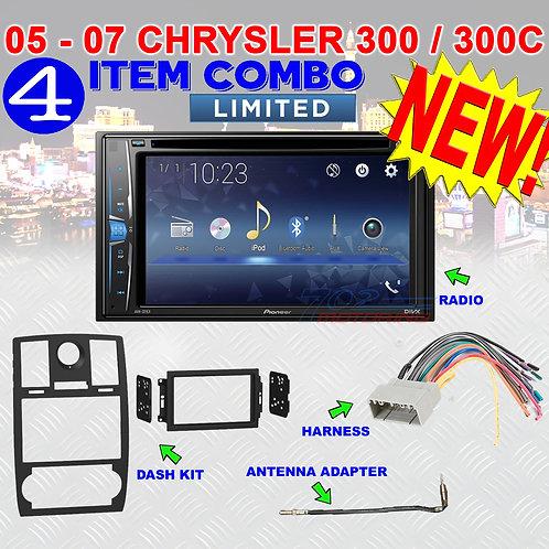 05 06 07 CHRYSLER 300 300C PIONEER AVH-221EX DOUBLE DIN DVD CAR RADIO STEREO KIT