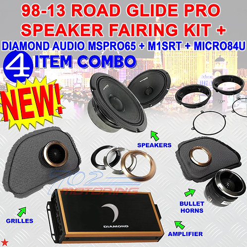 98-13 ROAD GLIDE PRO SPEAKER FAIRING KIT DIAMOND AUDIO MSPRO65 + M1SRT +MICRO84U