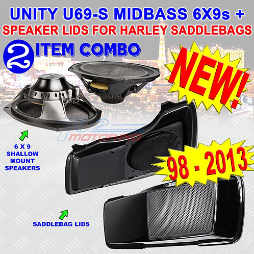 UNITY U69-S MUTAZUU STYLE CVO 6x9 SPEAKR LIDS FOR HARLEY TOURING SADDLEBAG 94-13