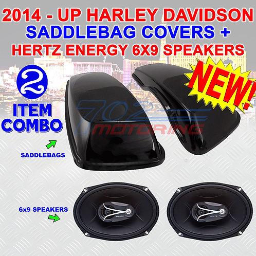 ECX 690.5 SPEAKERS + 2014 UP HARLEY VIVID BLACK HARD SADDLEBAG 6X9 SPEAKER LIDs