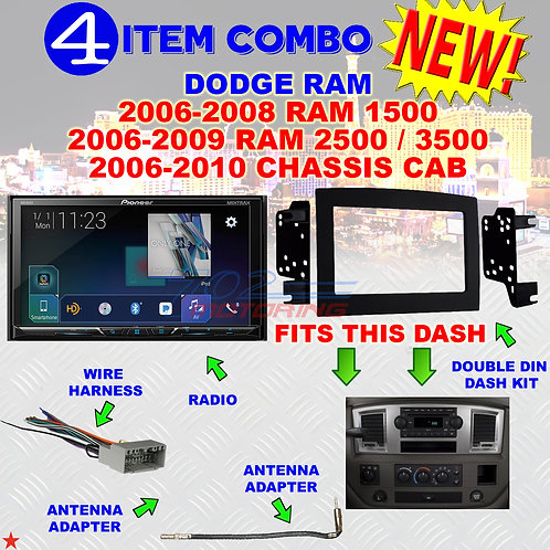 06 07 08 09 10 DODGE RAM CAR STEREO RADIO DOUBLE DIN INSTALL DASH PANEL KIT DR55