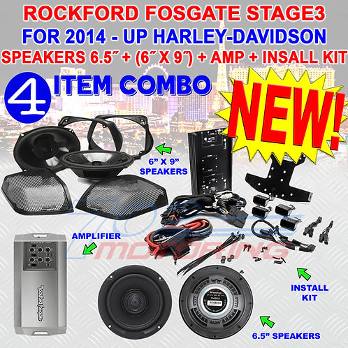 HD14RGSG-STAGE-3 ROCKFORD FOSGATE AMP SPEAKERS 6.5 6X9 FOR 14 - UP HARLEY & CVO