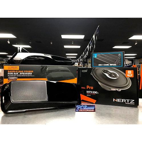 HERTZ MPX690.3 JL AUDIO MX500/4 MUTAZUU STYLE CVO SADLEBAG LIDS FOR HARLEY TOURI