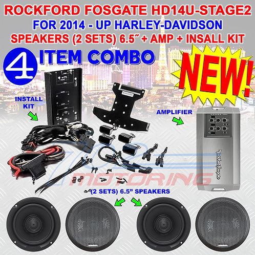 "HD14U-STAGE-2 ROCKFORD FOSGATE AMP, (2) 6.5"" SPEAKERS FOR 2014 - UP HARLEY & CVO"