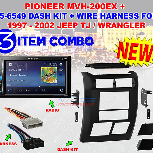 JEEP WRANGLER + TJ 1997 - 2002 DOUBLE DIN DASH BEZEL RADIO STEREO MOUNTING JR43