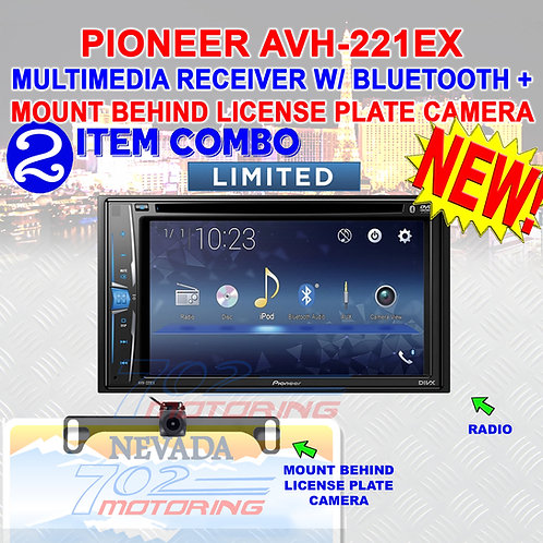 PIONEER AVH-221EX MULTIMEDIA RECEIVER WITH MOUNT BEHIND LICENSE PLATE CAMERA 1