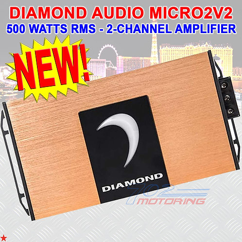 DIAMOND AUDIO® MICRO2V2 2-CHANNEL MOTORCYCLE 500W RMS AMPLIFIER FOR HARLEY NEW!
