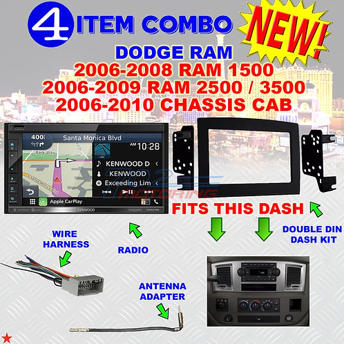06 07 08 09 10 DODGE RAM CAR STEREO RADIO DOUBLE DIN INSTALL DASH PANEL KIT DR60