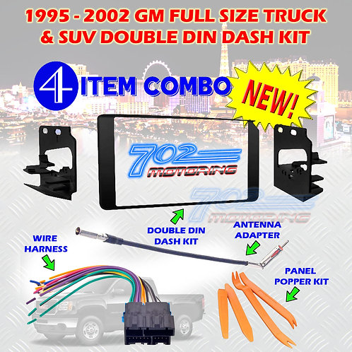 95-02 GM TRUCK/SUV DASH KIT 95-3003G + HARNESS + ANTENNA + POPPERS