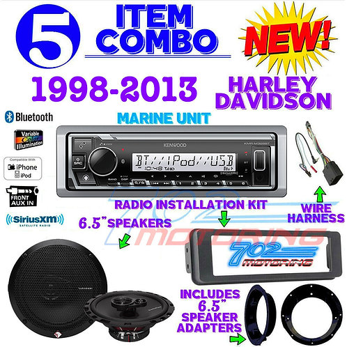 "IPOD MARINE RADIO FOR HARLEY FLHT INSTALL FLHX KIT R. F. 6.5"" SPEAKER KMR-M328BT"