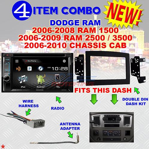 06 07 08 09 10 DODGE RAM CAR STEREO RADIO DOUBLE DIN INSTALL DASH PANEL KIT DR01