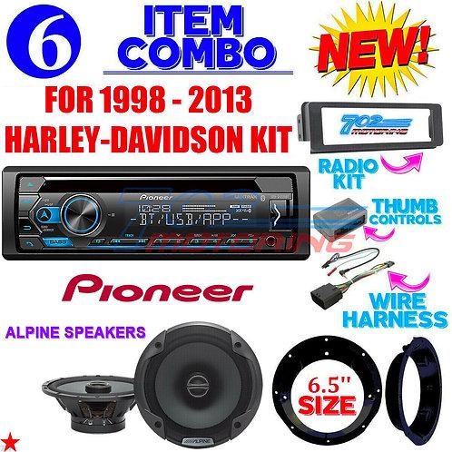 FOR 98- 2013 HARLEY PIONEER DEH-S4220BT RADIO ALPINE SPEAKER TOURING PAC INSTALL