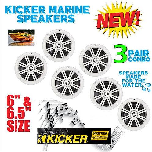 3 PAIRS OF KICKER KM6204W 1KM6204W BKM60 BKM604W MARINE & BOAT SPEAKERS 6.5 INCH