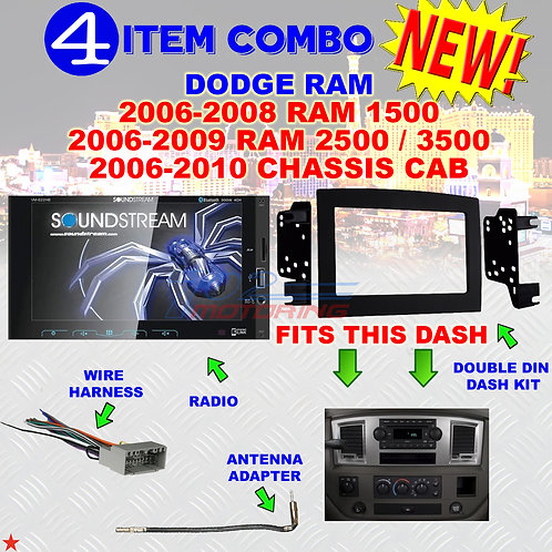 06 07 08 09 10 DODGE RAM CAR STEREO RADIO DOUBLE DIN INSTALL DASH PANEL KIT DR71