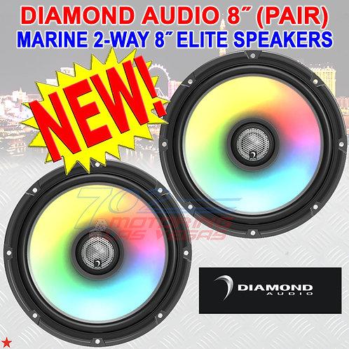 "DIAMOND AUDIO HXM8F4 MARINE SPEAKERS MOTORSPORT 2-WAY 8"" FLUSH MOUNT 4Ω PAIR"