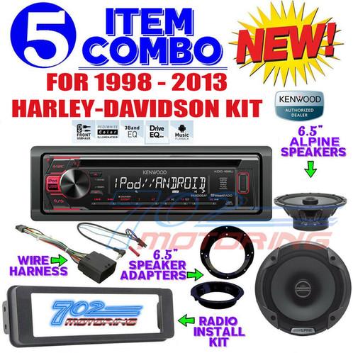 iPOD KENWOOD RADIO FOR HARLEY FLHT INSTAL FLHX KIT ALPINE 6 5 SPEAKERS  ADAPTERS