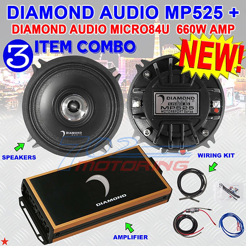 "DIAMOND AUDIO MP525 5.25"" PRO FULL-RANGE CO-AX HORN SPEAKERS + MICRO84U AMP NEW!"