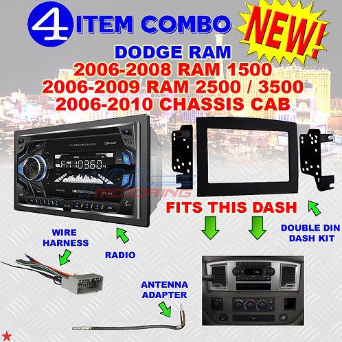06 07 08 09 10 DODGE RAM CAR STEREO RADIO DOUBLE DIN INSTALL DASH PANEL KIT DR83