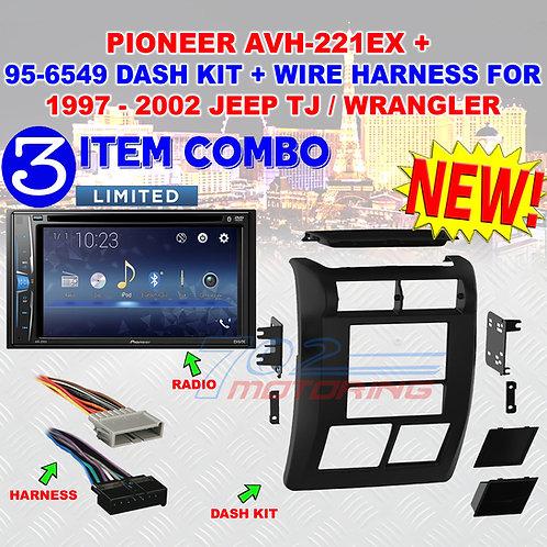 97 - 2002 JEEP WRANGLER / TJ PIONEER AVH-221EX + 2-DIN DASH BEZEL + WIRE HARNESS