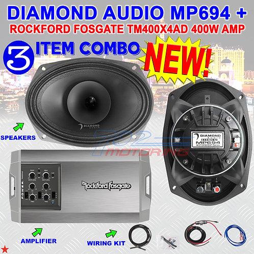 DIAMOND AUDIO MP694 6X9 PRO FULL-RANGE CO-AX HORN SPEAKERS + R.F. TX400X4AD AMP