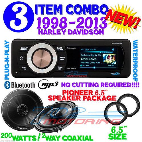 PIONEER SPEAKERS TS-G1645R + AQ-MP-UBT-H AQUATIC AV FOR HARLEY BLUETOOTH RADIO