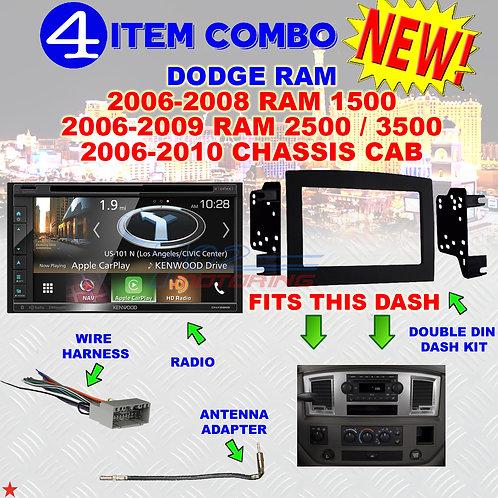 06 07 08 09 10 DODGE RAM CAR STEREO RADIO DOUBLE DIN INSTALL DASH PANEL KIT DR26