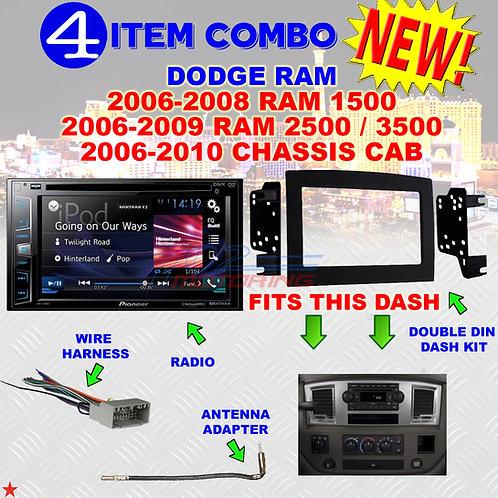 06 07 08 09 10 DODGE RAM CAR STEREO RADIO DOUBLE DIN INSTALL DASH PANEL KIT DR50